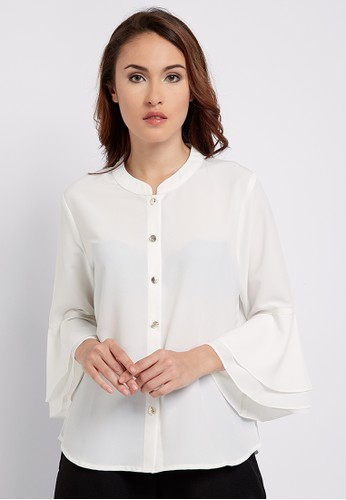 The B Club white Flared Sleeve Shirt 9A577AAFB4DF56GS_1