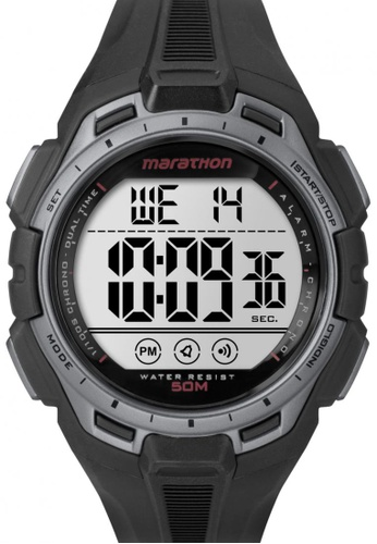 TIMEX black Timex Marathon® - Digital Full-Size Black Resin Strap Watch TI857AC80CODSG_1