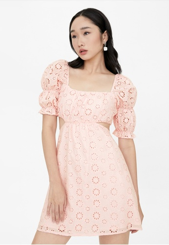 Pomelo pink Mini Open Back Eyelet Dress - Pink EB828AABE2FB7CGS_1