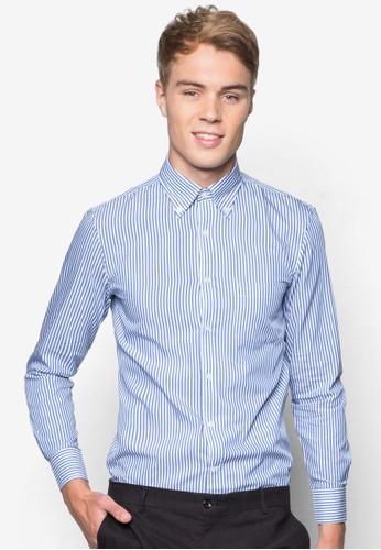 條紋修身棉質長袖襯衫, 服飾, 服esprit 會員飾