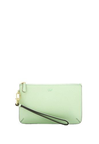 Braun Buffel green Ophelia Zip Top Wristlet in Green Ash E6F3BACBFB0479GS_1