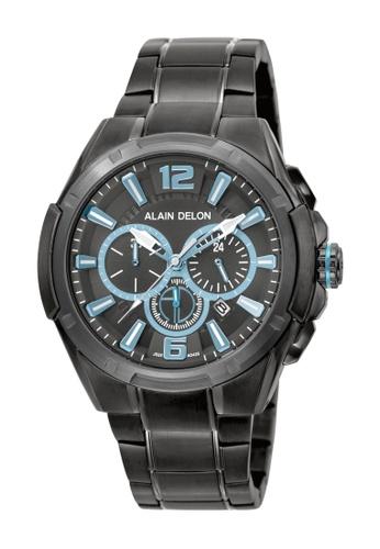 Alain Delon black Alain Delon Men AD425-1785C Gunmetal Stainless Steel Watch 1A914AC2035E48GS_1