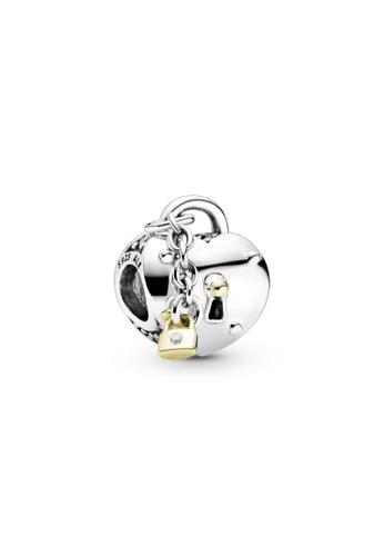 PANDORA silver Pandora Two-Tone Heart and Lock Charm 19FD2ACEC0728BGS_1