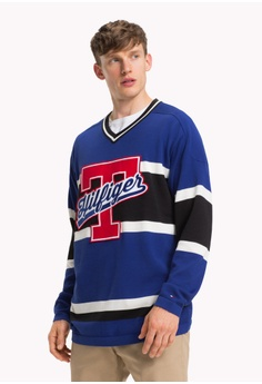 456257a9 Tommy Hilfiger blue OVERSIZED HOCKEY JERSEY V NECK 28FE9AA310E029GS_1