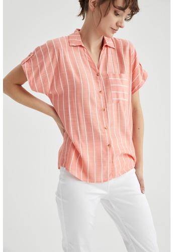 DeFacto orange Woman Woven Short Sleeve Shirt C056EAA7E38923GS_1