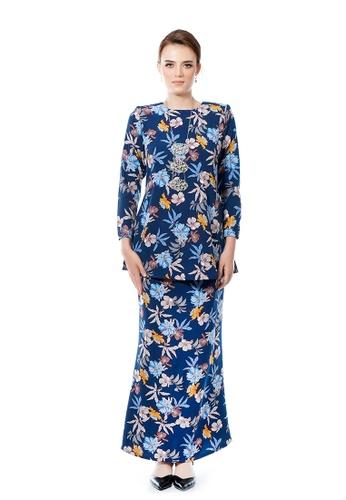 LARA NOUR blue and multi Kurung Farah 3825BAADE8FD29GS_1