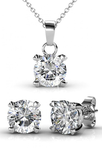 Her Jewellery silver Swarovski® Crystals - SweetHeart Combo ( earrings / pendant / ring )  (18K White Gold Plated) Her Jewellery HE581AC0RAFTMY_1