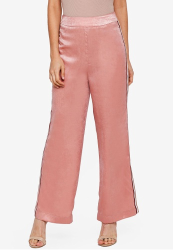 Lubna pink Side Ribbon Straight Cut Pants C0CBCAA2B788D5GS_1