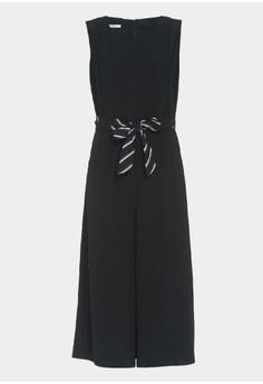 OUWEY歐薇 條紋綁帶造型連身褲裝