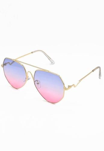 Dandelion pink and purple and gold High Bridge Aviator Sunglasses 6C8A3GL48C044FGS_1