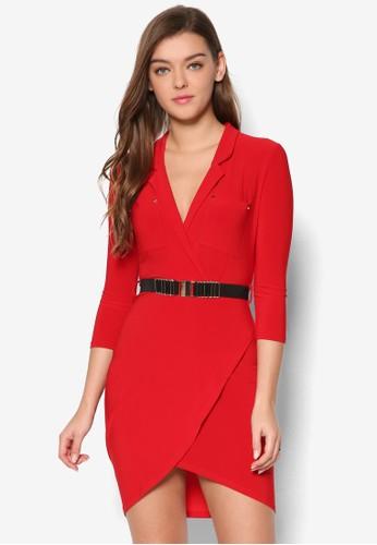 七esprit 兼職分袖腰帶襯衫連身裙, 服飾, 洋裝