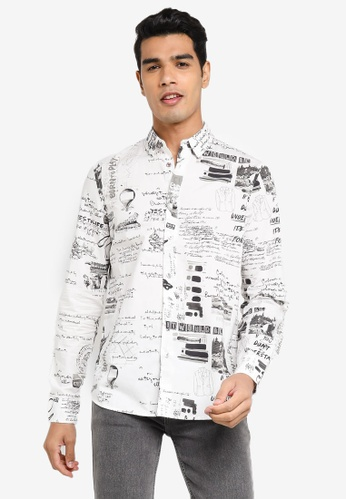 Desigual white Lettering and Illustrations Shirt EA68FAAC389942GS_1