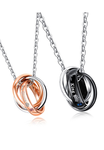 Trendyshop black and silver and gold Engrave Couples Pendant Necklace 1 Set 50DF4AC8D263EBGS_1