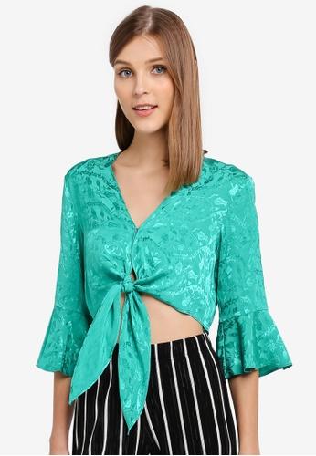 Miss Selfridge green Green Jacquard Tie Angel Sleeve Top MI665AA0STCQMY_1