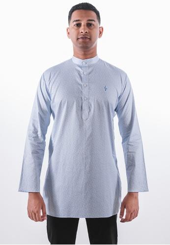 Achaboy white and blue Achaboy Kurta - Egypt Cotton - Blue x White 28FC7AA2B657C3GS_1