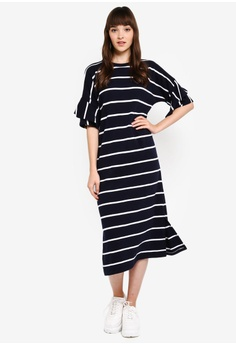 43971aa76a9 Kitschen Stripe Ruffle Midi Dress RM 59.90. Sizes S M XL