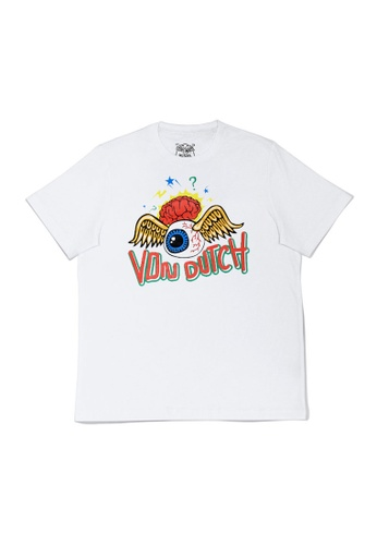 "Von Dutch white Von Dutch Flying Eyeball ""Brain"" Print White Tee Shirt 9DAD1AA3F1B09FGS_1"