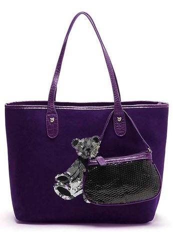 LULUGIFT purple Cute Bear Canvas Big Tote Purse Bag 2n1 Purple LU989AC39BUUMY_1