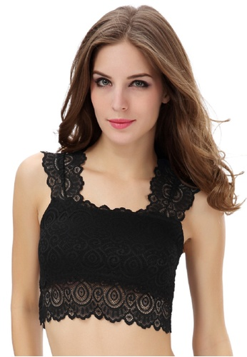 826b4be376 SMROCCO black Sleeveless Lace Camisole Top Bra TB9069 (Black)  75A6FUSF1C37F1GS 1