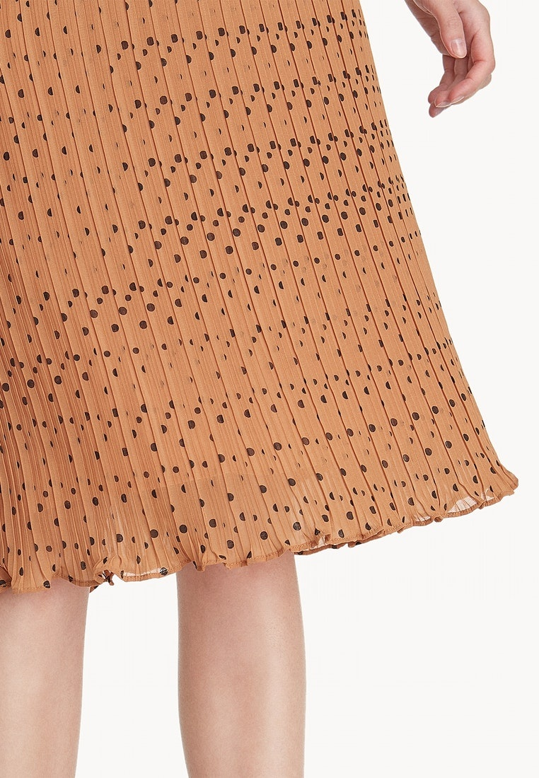 Dot Skirt Orange Midi Pomelo Orange Pleated Polka pSn1waqEw