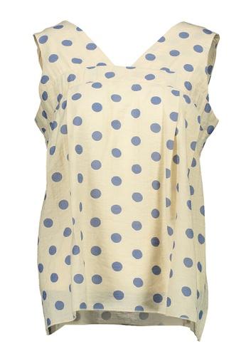 Kashieca yellow and blue Polka Sleeveless Top 6248EAA6D351A1GS_1