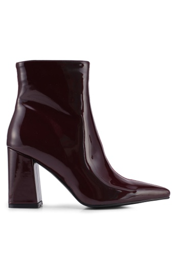 Public Desire red Chaos Colour Block Point Toe Ankle Boots E1F96SH0C0BBC7GS_1