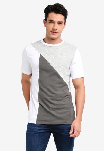 River Island grey Blocked T-Shirt 88541AAD190D3DGS_1