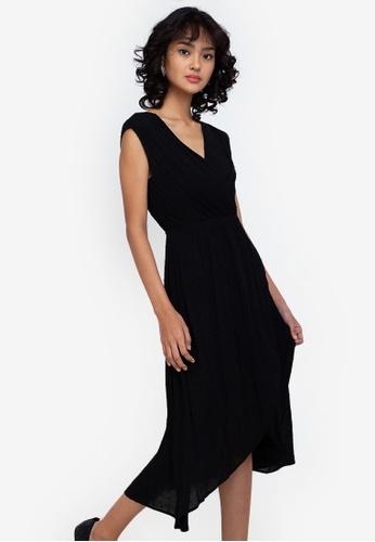 ZALORA BASICS black Tulip Wrap Mini Dress 905C1AAD368B19GS_1
