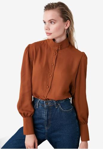 Trendyol brown Collar Detailed Shirt 3C41EAACE84E3DGS_1