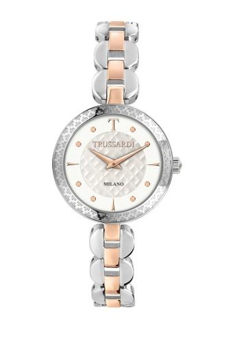 Trussardi gold T-Chain Quartz Watch Silver W/Rose Gold Steel Strap R2453137505 5292DAC18B3A52GS_1