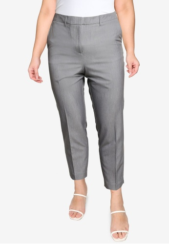 Dorothy Perkins grey Plus Size Grey Ankle Trouser 0AEB1AAE39CF78GS_1