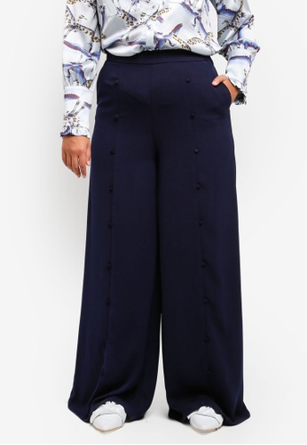 LOST INK PLUS navy Plus Size Wide Leg Trousers With Button Front LO776AA0SZ4UMY_1