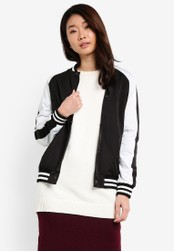 ZALORA black Color Block Bomber Jacket 8AD26ZZF65EB6AGS_1