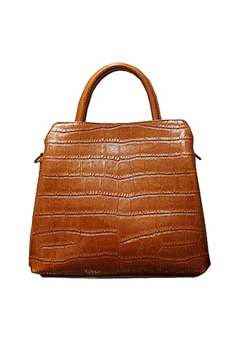Twenty Eight Shoes brown VANSA Embossed Cow Leather Hand Bag VBW-Hb6899 468B4AC864982AGS_1
