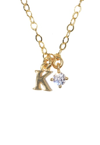 PSYNDROME gold Personalised Initial Letter Alphabet with Cubic Zircona Necklace - K 90AABACE67F0DEGS_1