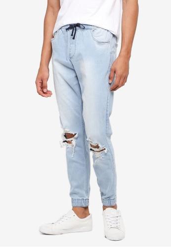 Hollister 藍色 抽繩縮口牛仔褲 DBB37AAC35D9AFGS_1