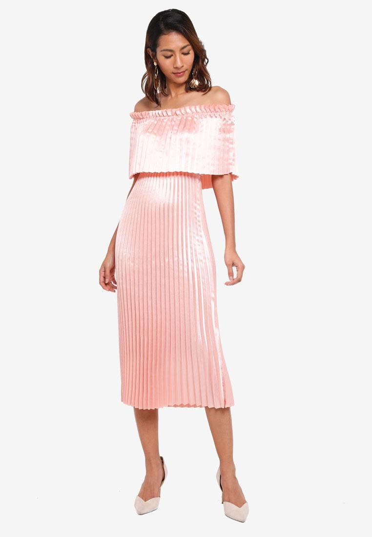 e6d811ac45 Shoulder Peach Moda Dress Vero Midi Jasmine Melba Off U6BpqY5 ...
