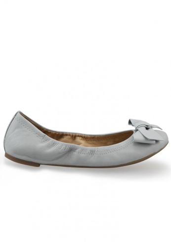 Shu Talk grey Nappa Round Toe Ballet Flats With Bow SH617SH2USD0HK_1