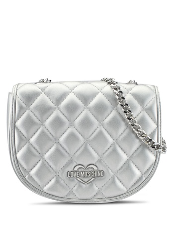 Love Moschino silver Borsa Quilted Metallic Shoulder Bag LO478AC0SEI5MY_1