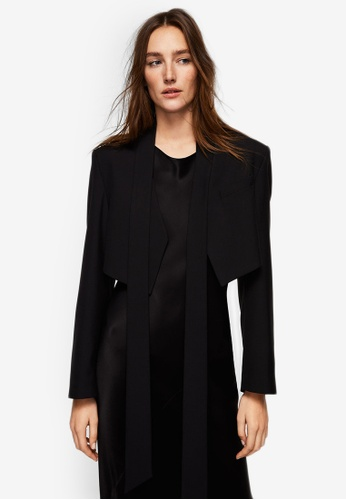 Mango black Ruched Cropped Jacket 2DFD6AAE1ACCB2GS_1