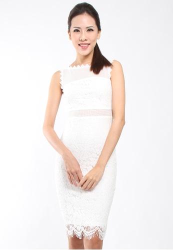 ce5cbb0b5a97a Lowela white Lace Pencil Dress LO721AA11RGEMY 1
