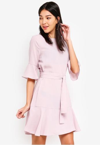 ZALORA purple Ruffle Hem Dress F1AD8AAF5DD7D3GS_1