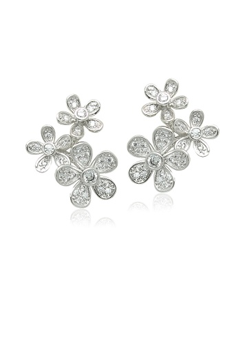 Chomel white and silver Cubic Zirconia Flower Earrings 54EF3ACBF56085GS_1