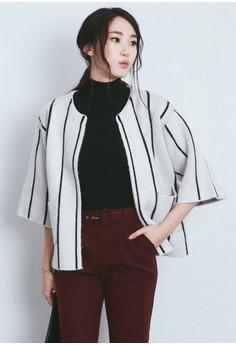 Stripes Lines Oversized Wool Jacket