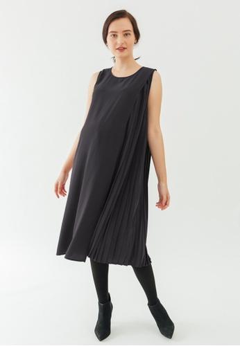 Bove by Spring Maternity grey Sleeveless Brenda Side Pleats Dress E1D65AA017C531GS_1