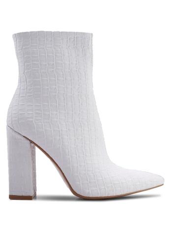 Public Desire 白色 Rejoice Point Toe 粗跟踝靴 030FDSH4827657GS_1