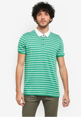 JAXON green Mixed Fabric Stripe Polo Shirt E4A37AAA6FC163GS_1