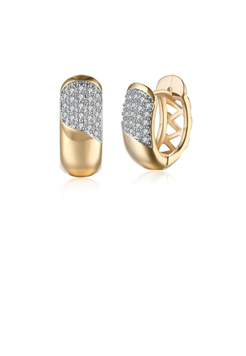 Glamorousky white Fashion Simple Plated Champagne Gold Geometric Round Cubic Zircon Earrings D1183ACD33EF34GS_1