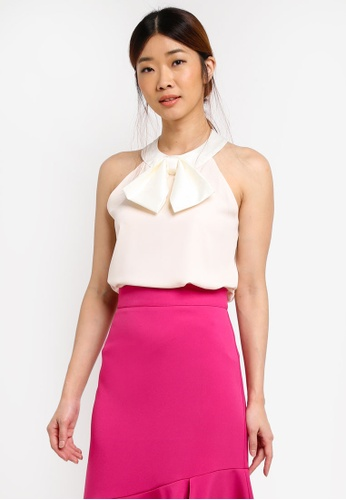 Vesper white and pink Kittie Contrast Bow Top A8070AAD0E17C3GS_1