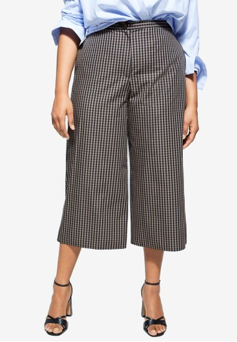 Violeta by MANGO brown Plus Size Check Culottes Trousers 51413AADE722FFGS_1